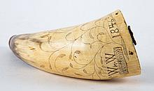 American carved powder horn