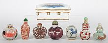 Six Chinese snuff bottles and porcelain box