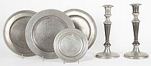 Five English and German pewter table articles