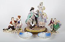5 German porcelain figural groups and dishes