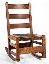 Arts & Crafts oak sewing rocker