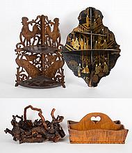 Four assorted decorative wood articles