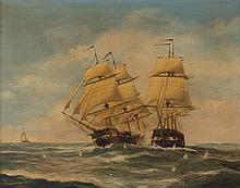American School, late 19th c. Naval Battle, oil