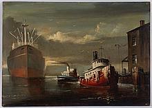 Melvin Miller. Baltimore Tugs, oil on masonite