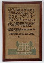 19th c. American needlework sampler, dated 1832
