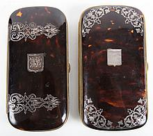 Two Victorian silver inlaid eyeglass cases