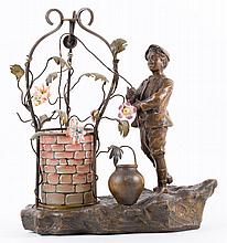 A.de Ranjan. Boy at Well spelter figural lamp