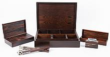 6 Klitgaard silver inlaid rosewood smoker's items