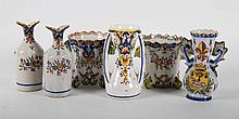 Six French faience miniature articles