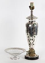 Art Nouveau silver covered emerald glass vase lamp