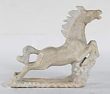 Continental carved marble horse
