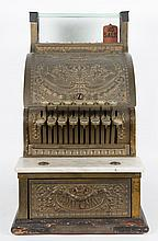 National brass, marble, and glass cash register