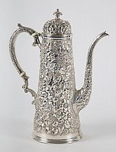 American repousse sterling individual coffee pot