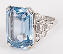 An Aquamarine & Diamond Ring