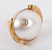 A Mid Century Modern Ruser Mabe Pearl Ring