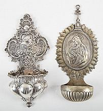 Two German silver holy water fonts