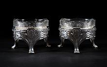 Pair of German silver and glass serving dishes