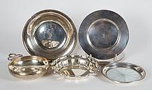 Seven American sterling silver table items
