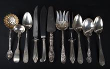 Assorted sterling and coin silver serving pieces
