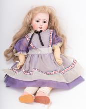 Limoges painted bisque and composition doll
