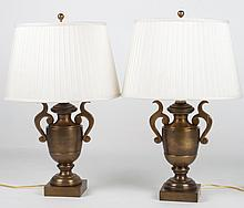 Pair of Classical style brass urn lamps