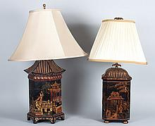 Two chinoiserie lacquer tea canister box lamps