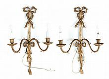 Pair of Regency style brass wall sconces