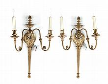 Pair of Regency style brass two-light wall sconces