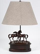 Patinated metal horse figural group lamp