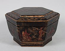 Chinoiserie style hexagonal dresser box