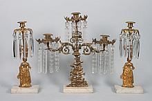 Three American Classical gilt-metal girandoles