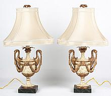 Pair of  French Empire style urn lamps