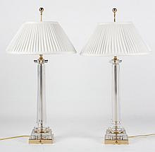 Pair of crystal and brass lamps