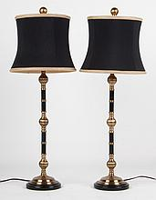 Pair of enameled metal and brass lamps