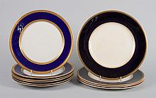 Assembled set of 10 china dinner plates