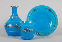 Blue opalescent & enameled glass water bottle set