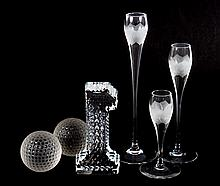 Six assorted decorative glass objects