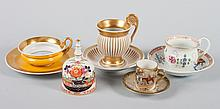 5 assorted Continental porcelain cups and saucers