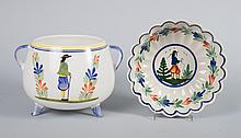 Two Quimper faience table articles