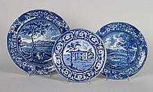 mThree Staffordshire blue transferware plates