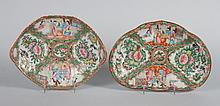 Two Chinese Export Rose Medallion porcelain dishes