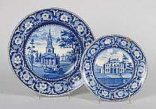 Two W. Ridgway Staffordshire blue transfer plates