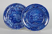 Two Enoch Wood Staffordshire blue transfer plates