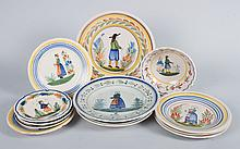 13 assorted Quimper faience plates and bowls