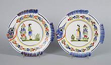 Pair of Hubaudiere Quimper fish plates