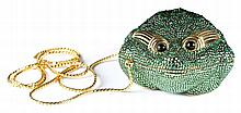A Judith Leiber Crystal Frog Minaudiere