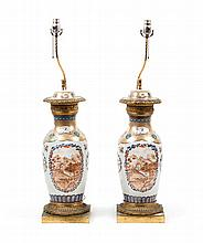 Pair of Chinese Export porcelain vase lamps