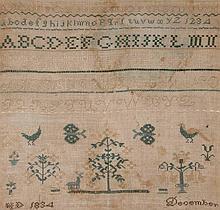 19th c. American needlework sampler, framed