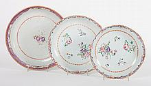 3 Chinese Export Famille Rose porcelain bowls