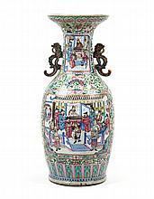 Chinese Export Rose Mandarin palace vase